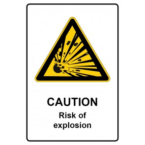 Warnzeichen mit Text Caution · Risk of explosion · Magnetschild