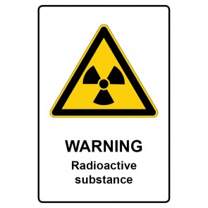 Warnzeichen mit Text Warning · Radioactive substance · Magnetschild