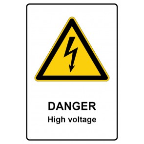 Warnzeichen mit Text Danger · High voltage · Magnetschild