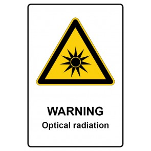 Warnzeichen mit Text Warning · Optical radiation · Magnetschild