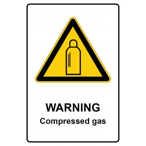Warnzeichen mit Text Warning · Compressed gas · Magnetschild