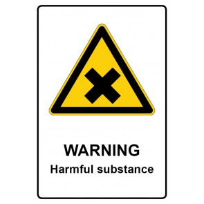 Warnzeichen mit Text Warning · Harmful substance · Magnetschild
