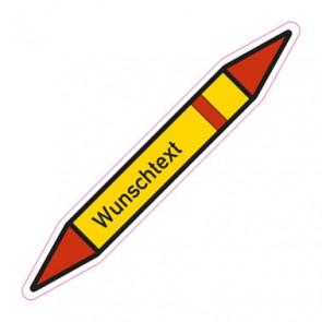 Aufkleber Rohrkennzeichnung Kältemittel, brennbare Gase, heiß, Stufe 1