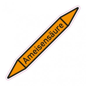 Aufkleber Rohrkennzeichnung · Rohrleitungskennzeichnung Ameisensäure