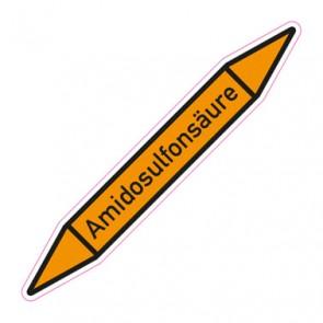 Aufkleber Rohrkennzeichnung · Rohrleitungskennzeichnung Amidosulfonsäure
