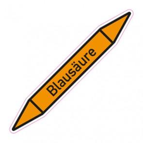 Aufkleber Rohrkennzeichnung · Rohrleitungskennzeichnung Blausäure