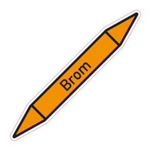Aufkleber Rohrkennzeichnung · Rohrleitungskennzeichnung Brom