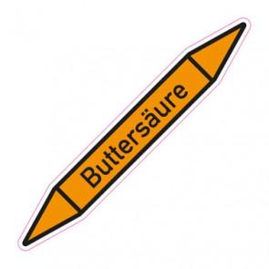Aufkleber Rohrkennzeichnung · Rohrleitungskennzeichnung Buttersäure