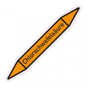Aufkleber Rohrkennzeichnung · Rohrleitungskennzeichnung Chlorschwefelsäure