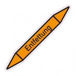 Aufkleber Rohrkennzeichnung · Rohrleitungskennzeichnung Entfettung