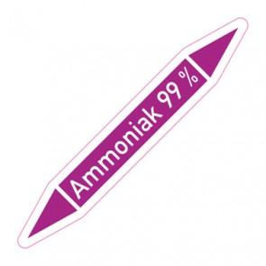 Aufkleber Rohrkennzeichnung · Rohrleitungskennzeichnung Ammoniak 99 %