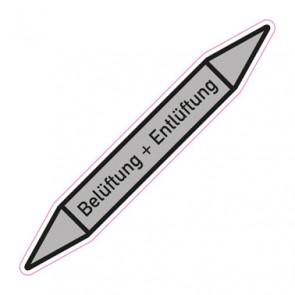 Aufkleber Rohrkennzeichnung · Rohrleitungskennzeichnung Belüftung + Entlüftung