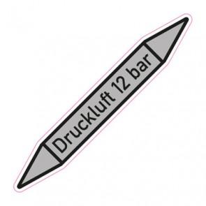 Aufkleber Rohrkennzeichnung · Rohrleitungskennzeichnung Druckluft 12 bar