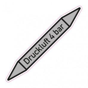 Aufkleber Rohrkennzeichnung · Rohrleitungskennzeichnung Druckluft 4 bar