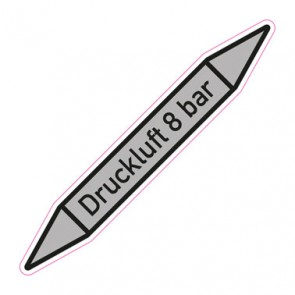 Aufkleber Rohrkennzeichnung · Rohrleitungskennzeichnung Druckluft 8 bar