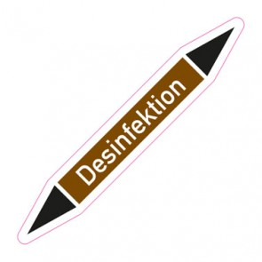 Aufkleber Rohrkennzeichnung · Rohrleitungskennzeichnung Desinfektion