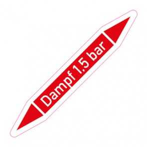 Aufkleber Rohrkennzeichnung · Rohrleitungskennzeichnung Dampf 1,5 bar