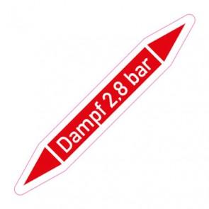 Aufkleber Rohrkennzeichnung · Rohrleitungskennzeichnung Dampf 2,8 bar