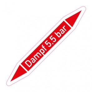 Aufkleber Rohrkennzeichnung · Rohrleitungskennzeichnung Dampf 5,5 bar