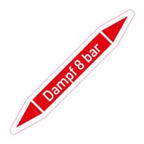 Aufkleber Rohrkennzeichnung · Rohrleitungskennzeichnung Dampf 8 bar