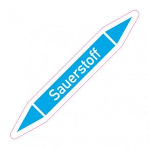Aufkleber Rohrkennzeichnung · Rohrleitungskennzeichnung Sauerstoff