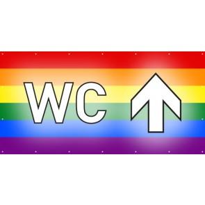 Banner Festivalbanner WC geradeaus | regenbogenfarben