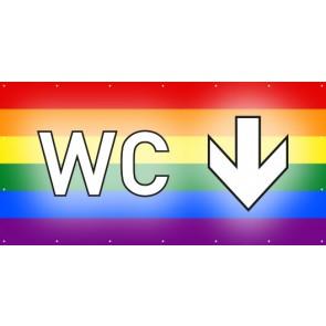 Banner Festivalbanner WC hier | regenbogenfarben