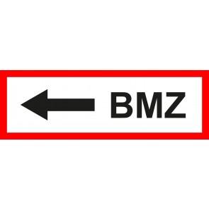 Feuerwehrzeichen Schild BMZ Pfeil links