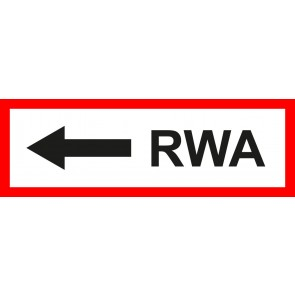 Feuerwehrzeichen Schild RWA Pfeil links