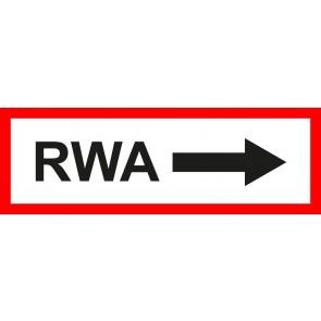 Feuerwehrzeichen Schild RWA Pfeil rechts