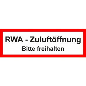 Aufkleber Feuerwehrzeichen RWA Zuluftöffnung · Bitte freihalten