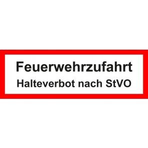 Aufkleber Feuerwehrzeichen Feuerwehrzufahrt · Halteverbot nach StVO