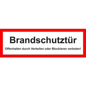 Aufkleber Feuerwehrzeichen Brandschutztür · Offenhalten durch Verkeilen oder Blockieren verboten!
