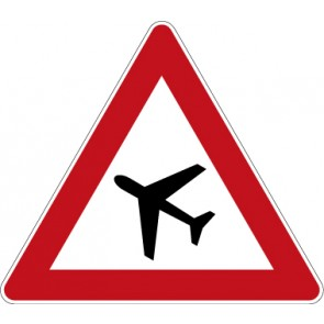 Verkehrzeichen Gefahrzeichen Flugbetrieb, Aufstellung rechts · Zeichen 101-10  · MAGNETSCHILD