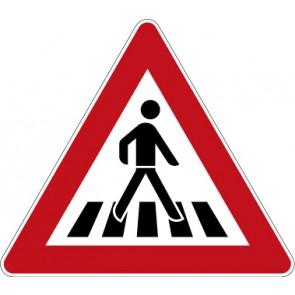 Schild Gefahrzeichen Fußgängerüberweg, Aufstellung links · Zeichen 101-21