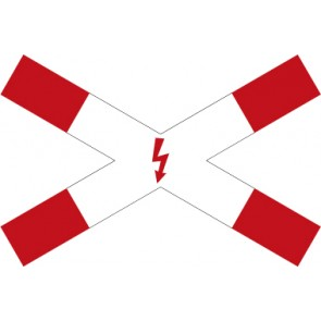 Verkehrzeichen Vorschriftzeichen Andreaskreuz mit Blitzpfeil (liegend) · Zeichen 201-53  · MAGNETSCHILD
