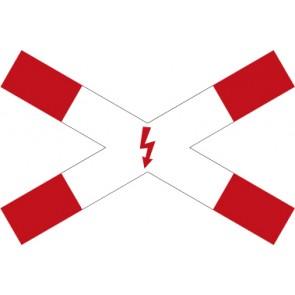 Aufkleber Vorschriftzeichen Andreaskreuz mit Blitzpfeil (liegend) · Zeichen 201-53