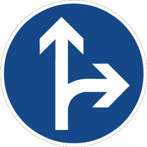 Fußbodenaufkleber Vorschriftzeichen Vorgeschriebene Fahrtrichtung, geradeaus oder rechts · Zeichen 214