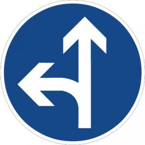 Fußbodenaufkleber Vorschriftzeichen Vorgeschriebene Fahrtrichtung, geradeaus oder links · Zeichen 214-10