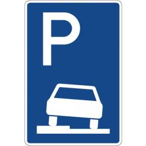 Aufkleber Richtzeichen Parken halb auf Gehwegen in Fahrtrichtung links · Zeichen 315-50