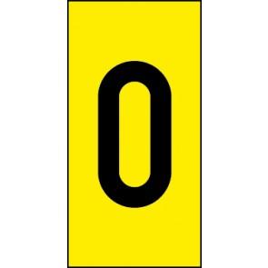 Magnetschild Einzelziffer 0 | schwarz · gelb