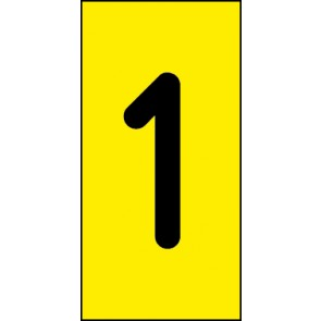 Magnetschild Einzelziffer 1 | schwarz · gelb