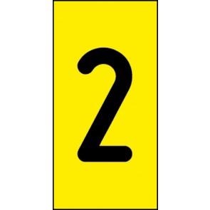 Schild Einzelziffer 2 | schwarz · gelb