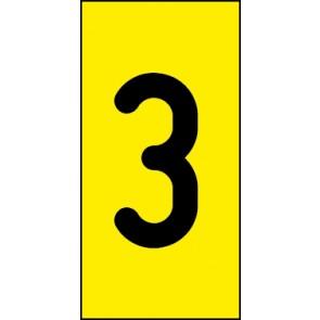 Schild Einzelziffer 3 | schwarz · gelb