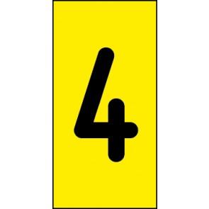 Schild Einzelziffer 4 | schwarz · gelb