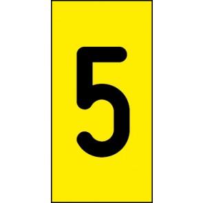 Schild Einzelziffer 5 | schwarz · gelb