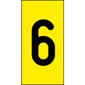 Schild Einzelziffer 6 | schwarz · gelb