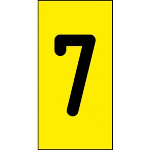 Schild Einzelziffer 7 | schwarz · gelb