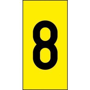 Schild Einzelziffer 8 | schwarz · gelb
