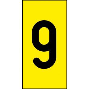 Schild Einzelziffer 9 | schwarz · gelb